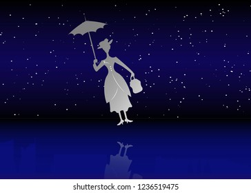 Silhouette girl floats with umbrella in his hand, Mary Poppins style vector starry sky background