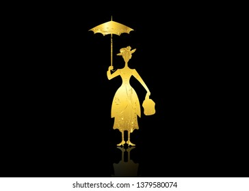 Silhouette girl floats with umbrella in his hand, lady in gold leaf style, vector isolated or black background