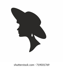 Silhouette of girl in hat. Vector illustration.
