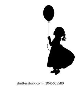 Silhouette girl holiday hand balloon. Vector illustration
