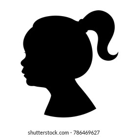 Silhouette girl kid head with ponytail. Vector illustration of a young girl head shadow isolated on white background.