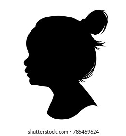 Silhouette girl kid head. Vector illustration of a young girl head shadow isolated on white background.