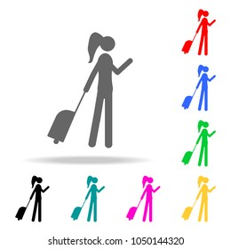 silhouette of a girl with luggage icon. Elements of Airport multi colored icons. Premium quality graphic design icon. Simple icon for websites, web design, mobile app on white background