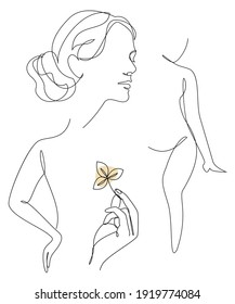 Silhouette of a girl in a modern one line style. Continuous line drawing, aesthetic outline for cosmetics advertising, posters, wall art, stickers. Woman figure logo or icon vector illustration.