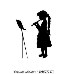 Silhouette girl music playing flute. Vector illustration