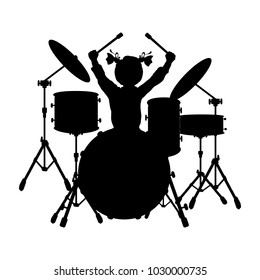 Silhouette girl music plays the drums. Vector illustration