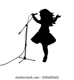 Silhouette girl music sings in microphone. Vector illustration