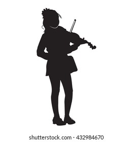 Silhouette Of The Girl Musician Playing The Violin In The Streets