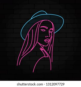 silhouette of a girl in neon style vector illustration
