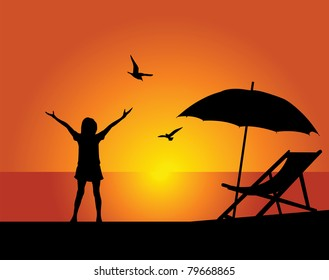 Silhouette of the girl on a background of the evening sky