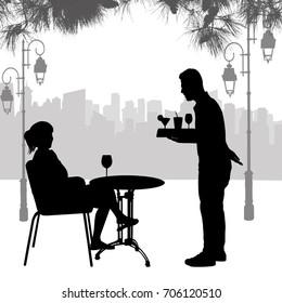 Silhouette of girl on table and waiter silhouette with the tray in front of the city, vector illustration
