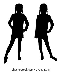 the silhouette of a girl on a white background vector