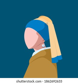 A silhouette of a girl with pearl earring. Isolated vector Illustration.