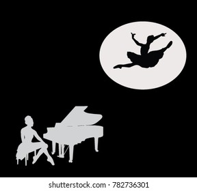 silhouette of a girl with a piano and girls in a ballet pose