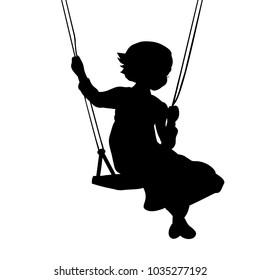 Silhouette girl play swinging swing. Vector illustration