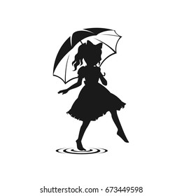 Silhouette girl playing with umbrella