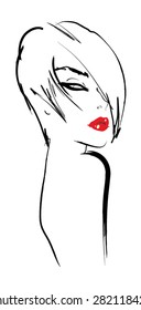 Silhouette of a girl with red lips. Sketch girl vector