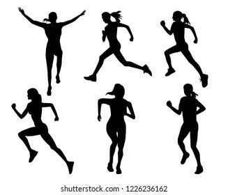 silhouette of a girl. silhouette of a runner. the girl is running. national sport. Athletics.