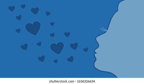 Silhouette of a girl sending air kisses of blue hearts shape, romantic banner with 3D paper cut effect. Valentine's Day, romance and love concept vector illustration.