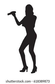 Silhouette girl sexy sings vector