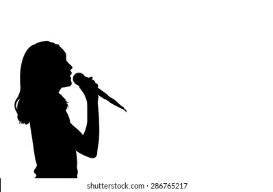silhouette of girl singing