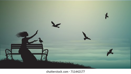 silhouette of girl sitting on the bench near the sea with sun-rise and feed the sea gulls, shadows, memories,  sea sweet dreams