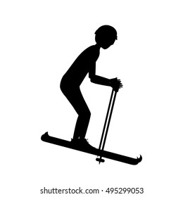 Silhouette of girl skiing design