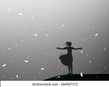silhouette girl standing on the edge of the cliff  in falling white flower leaves, grey dreams, shadows,