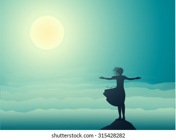 silhouette girl standing on the edge of the cliff an looking at the sun-rise and sea waves, sea landscape, shadows,