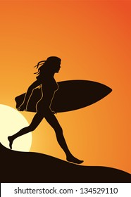 Silhouette of a girl with a surfboard on the beach in a vector format