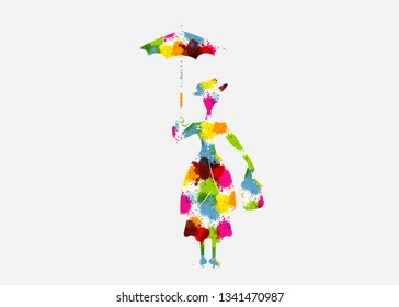 Silhouette girl with umbrella multicolour splash style, isolated on white background