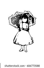 Silhouette of a girl with an umbrella vector