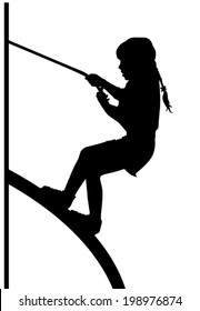 the silhouette of a girl who is climbing up the rope to the slide on a white background vector