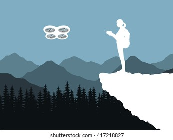 Silhouette of a girl, woman with a backpack on back. Girl stands on the edge of a cliff, and keeps control of the drone. UAV flying over dense forest and mountains. Girl drives a flying drone. Vector