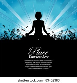 Silhouette of a Girl in Yoga pose on Nature background with grass, flower and butterfly, element for design, vector illustration