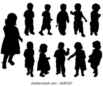 Silhouette girls and boys (age of children - from a year up to two), vector illustration