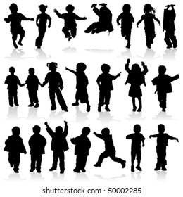 Silhouette girls and boys, element for design, vector illustration