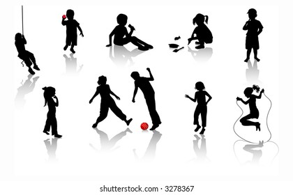 Silhouette girls and boys. Vector illustration