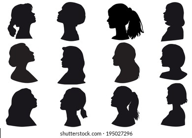 Silhouette of a girls head, face in profile, Isolated on white background