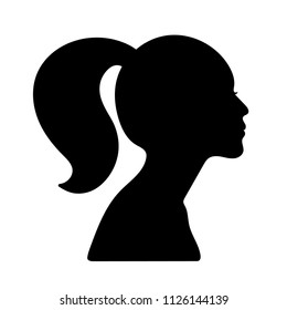 Silhouette of a girls head; a female profile; a vectr illustration