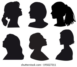 Silhouette of a girls head, in profile, black, Isolated on white background