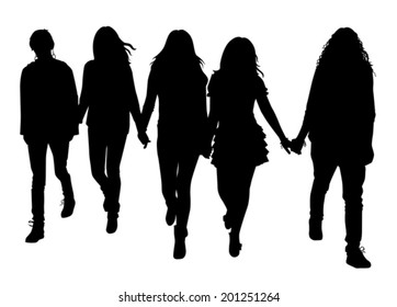 the silhouette of girls who go and hold hands on a white background vector