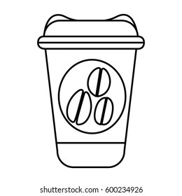 silhouette glass disposable for hot drinks with lid vector illustration