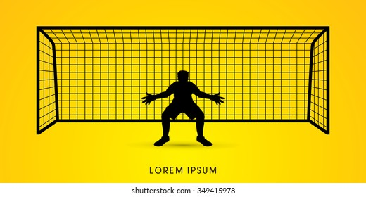 Silhouette Goalkeeper standing graphic vector.