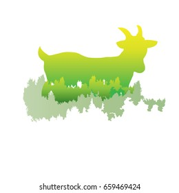 silhouette of a Goat Inside the pine forest, bright colors /animal / park / vector illustration on white background. logo, symbol