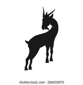 Silhouette of a goat in vector