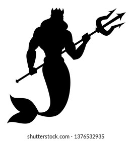 Silhouette God Neptune. God of the sea. Neptune with a trident.