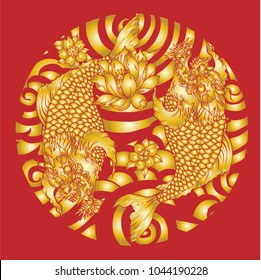Silhouette and gold background The koi dragon fish with cherry blossom and lotus on water wave and cloud background.Dragon head and koi carp fish in circle design for tattoo