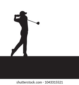 Silhouette golfer swinging driver wood for golf tournament ticket and flyer background.
