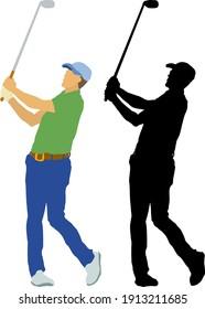Silhouette of golfer swinging his golf club. Vector illustration.